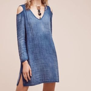 CLOTH & STONE Chambray Denim Cold Shoulder Dress L